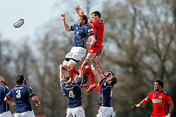 London Scottish Lock Josh Thomas Brown and Bristol Rugby Number 8 Rayn Smid compete at a lineout - Mandatory byline: Rogan Thomson/JMP - 02/04/2016 - RUGBY UNION - Richmond Athletic Ground - London, England - London Scottish v Bristol Rugby - Greene King IPA Championship.