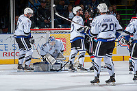KELOWNA, CANADA - SEPTEMBER 28:  Coleman Vollrath #35 of the Victoria Royals makes a save at the Kelowna Rockets on September 28, 2013 at Prospera Place in Kelowna, British Columbia, Canada (Photo by Marissa Baecker/Shoot the Breeze) *** Local Caption ***