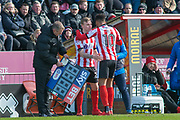 sub for Lincoln City Lincoln City Forward Matt Green for Lincoln City Midfielder Harry Anderson during the EFL Sky Bet League 2 match between Lincoln City and Grimsby Town FC at Sincil Bank, Lincoln, United Kingdom on 17 March 2018. Picture by Craig Zadoroznyj.