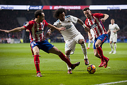 November 18, 2017 - Madrid, Madrid, Spain - Marcelo, Juanfran, Saul Ã'iguez during the match between Atletico de Madrid and Real Madrid, week 12 of La Liga at Wanda Metropolitano stadium, Madrid, SPAIN - 18th November of 2017. (Credit Image: © Jose Breton/NurPhoto via ZUMA Press)