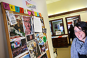 A staff member heads past the Bernie 'Pride Board' hanging on the wall leading into the kitchen at the Bernie Sanders campaign office in Burlington, Vermont the day after Super Tuesday,  Wednesday, March 2, 2016.  CREDIT: Cheryl Senter for The New York Times