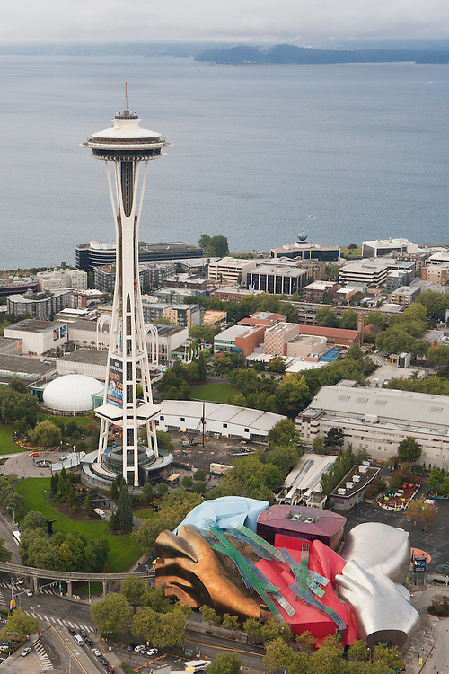 North America, United States, Washington,  Seattle, aerial view of the Seattle Center, Space Needle, EMP Museum and Puget Sound