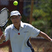 Takeshi Matsuda, Japan, in action in the 75 Mens singles during the 2009 ITF Super-Seniors World Team and Individual Championships at Perth, Western Australia, between 2-15th November, 2009.