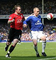 Photo: Paul Thomas.<br /> Everton v Manchester United. The Barclays Premiership. 28/04/2007.<br /> <br /> Wayne Rooney (L) of Utd battles with Tony Hibbert.