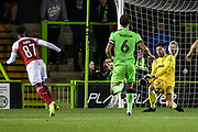 Arsenal's Bukayo Saka(87) shoots at goal saved by Forest Green Rovers goalkeeper James Montgomery during the EFL Trophy group stage match between Forest Green Rovers and U21 Arsenal at the New Lawn, Forest Green, United Kingdom on 7 November 2018.
