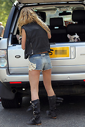 Girls Aloud singer Sarah Harding a black wastecoat, pink beely top, a pair short denim shorts and black boots leaving her house in north London, UK. 22/09/2012<br />BYLINE MUST READ : GOTCHAIMAGES.COM<br /><br />Copyright by © Gotcha Images Ltd. All rights reserved.<br />Usage of this image is conditional upon the acceptance <br />of Gotcha Images Ltd, terms and conditions available at<br />www.gotchaimages.com
