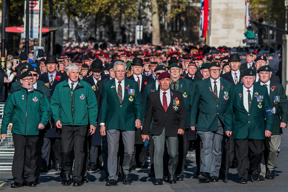 Veterans, incl the Light Infantry, march past the Cenothaph and down Whitehall - Remembrance Sunday and Armistice Day commemorations fall on the same day, remembering the fallen of all conflicts but particularly the centenary of the end of World War One.
