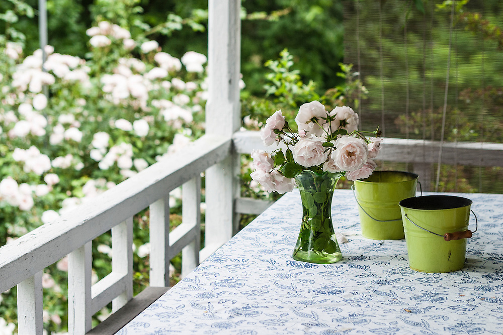 Vase of fresh pink spring roses sits on table with floral tablecloth with citronella candles on an old fashion porch
