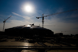 Three months before the end of building a new football stadium and sports arena in Stozice, on April 30, 2010, in Stozice, Ljubljana, Slovenia.  (Photo by Vid Ponikvar / Sportida)