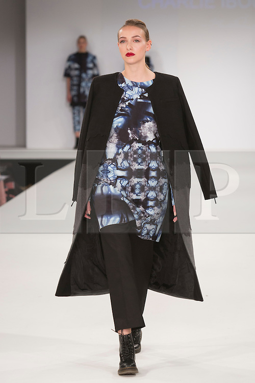 © Licensed to London News Pictures. 31/05/2015. London, UK. Collection by Charlie Iboullie. Fashion show of the University of East London (UEL) at Graduate Fashion Week 2015. Graduate Fashion Week takes place from 30 May to 2 June 2015 at the Old Truman Brewery, Brick Lane. Photo credit : Bettina Strenske/LNP
