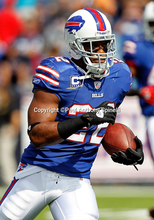 Buffalo Bills running back Fred Jackson (22) runs the ball during the NFL week 3 football game against the New England Patriots on Sunday, September 25, 2011 in Orchard Park, New York. The Bills won the game 34-31. ©Paul Anthony Spinelli