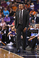 Oct 11, 2017; Phoenix, AZ, USA; Phoenix Suns head coach Earl Watson reacts against the Portland Trail Blazers in the first half at Talking Stick Resort Arena. Mandatory Credit: Jennifer Stewart-USA TODAY Sports