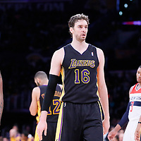 21 March 2014: Los Angeles Lakers forward Nick Young (0), Los Angeles Lakers center Pau Gasol (16) and Los Angeles Lakers forward Xavier Henry (7) are seen during the Washington Wizards 117-107 victory over the Los Angeles Lakers at the Staples Center, Los Angeles, California, USA.