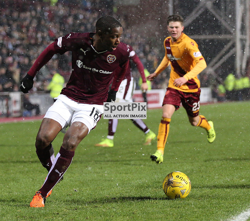 Hearts v Motherwell Scottish Premiership 16 January 2016; Arnaud Djoum (Hearts, 16) takes the ball in the box and is brought down for a penalty during the Heart of Midlothian v Motherwell Scottish Premiership match played at Tynecastle Stadium, Edinburgh; <br /> <br /> &copy; Chris McCluskie | SportPix.org.uk