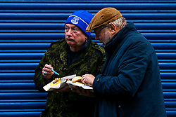 Everton fans enjoy a pie and chips outside Goodison Park - Mandatory by-line: Robbie Stephenson/JMP - 21/10/2018 - RUGBY - Sixways Stadium - Worcester, England - Worcester Warriors v Ospreys - European Rugby Challenge Cup