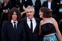 Tess Bu Cuarón—, Alfonso Cuarón and Olmo Teodoro at the premiere gala screening of the film Roma at the 75th Venice Film Festival, Sala Grande on Thursday 30th August 2018, Venice Lido, Italy.