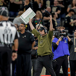 Dec 23, 2018; New Orleans, LA, USA; New Orleans Saints head coach Sean Payton signal for a touchdown as a catch by wide receiver Michael Thomas (not pictured) is reviewed during the fourth quarter against the Pittsburgh Steelers at the Mercedes-Benz Superdome. Mandatory Credit: Derick E. Hingle-USA TODAY Sports