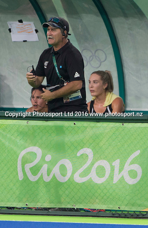 New Zealand coach Mark Hagar in the dugout . New Zealand Blacksticks women v Great Britain, Olympic hockey Semi Final Olympic Rowing,  Rio Olympics Games 2016, Rio de Janeiro. Wednesday 17 August, 2016. Copyright photo: John Cowpland / www.photosport.nz