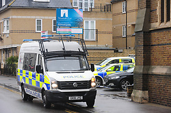 © Licensed to London News Pictures. 05/03/2017<br /> BROADWAY,SHEERNESS.<br /> Police have sealed off the park from the Broadway and the seafront down to the sea.<br />  The body of a baby has been found on small piece of park land at the back of Sheerness Swimmimg Pool near the Broadway, Sheerness next to St Henry and St Elizabeth Church.<br /> Photo credit :Grant Falvey/LNP