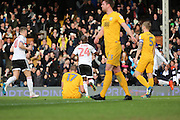 Fulham striker Sone Aluko (24) celebrating after scoring 1-0 during the EFL Sky Bet Championship match between Fulham and Preston North End at Craven Cottage, London, England on 4 March 2017. Photo by Matthew Redman.