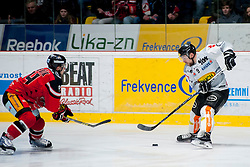 01.03.2016, Ice Rink, Znojmo, CZE, EBEL, HC Orli Znojmo vs Dornbirner Eishockey Club, Viertelfinale, 3. Spiel, im Bild v.l. Petr Senkerik (HC Orli Znojmo), James Arniel (Dornbirner) // during the Erste Bank Icehockey League 3rd quarterfinal match between HC Orli Znojmo and Dornbirner Eishockey Club at the Ice Rink in Znojmo, Czech Republic on 2016/03/01. EXPA Pictures © 2016, PhotoCredit: EXPA/ Rostislav Pfeffer