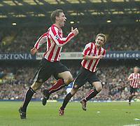 Photo: Aidan Ellis.<br /> Everton v Sunderland. The Barclays Premiership. 01/04/2006.<br /> Sunderland's Rory Delap celebrates his equalising goal with george Mcartney