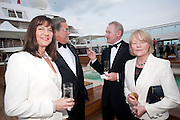 MADELEINE ARISON; MICKEY ARISON; DAVID CROSSLAND; ANNE CROSSLAND, Breast Cancer Haven 10th Anniversary Gala Event aboard Super Luxury Yacht Seabourn Sojourn. Off Canary Wharf. London. 5 June 2010. -DO NOT ARCHIVE-© Copyright Photograph by Dafydd Jones. 248 Clapham Rd. London SW9 0PZ. Tel 0207 820 0771. www.dafjones.com.
