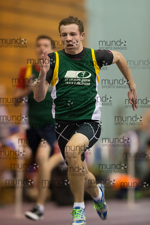 Cole Barnes of St. Thomas Legion TFC competes at the STL-LW All Comers Meet # 2 in London, Ontario, Saturday, January 24, 2015.<br /> Mundo Sport Images/ Geoff Robins