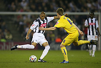 Photo: Rich Eaton.<br /> <br /> West Bromwich Albion v Sheffield Wednesday. Coca Cola Championship. 13/04/2007. West Broms Diomansy Kamara tries to get past Wednesdays Glenn Whelan