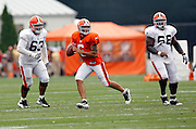 Cleveland Browns quarterback Seneca Wallace (6) rolls out while looking to pass during NFL football training camp at the Cleveland Browns Training Complex on Monday, August 9, 2010 in Berea, Ohio. (©Paul Anthony Spinelli)