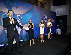 CARDIFF, WALES - Wednesday, August 31, 2016: Gethin Jones with Laura McAllister, Former Wales player Gwennan Harries and women's team manager Jayne Ludlow during a gala dinner at the Cardiff Museum to launch the UEFA Champions League Finals 2017 to be held in Cardiff. (Pic by David Rawcliffe/Propaganda)