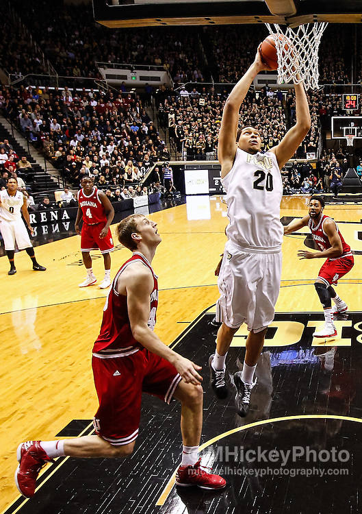 WEST LAFAYETTE, IN - JANUARY 30: A.J. Hammons #20 of the Purdue Boilermakers goes up to dunk the ball against the Indiana Hoosiers at Mackey Arena on January 30, 2013 in West Lafayette, Indiana. Indiana defeated Purdue 97-60. (Photo by Michael Hickey/Getty Images) *** Local Caption *** A.J. Hammons