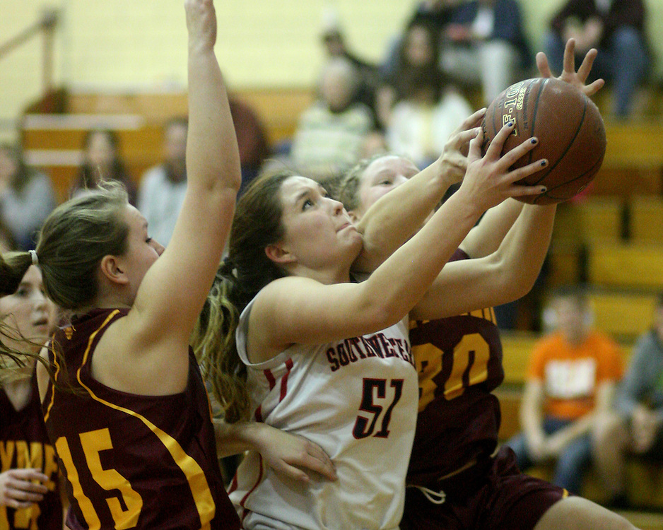 Southwestern's Sally Rudny battles for a first quarter basket against Clymer 12-8-15 photo by Mark L. Anderson