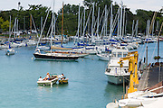 Boats along the Sheridan Shore Yacht Club in Wilmette Harbor Wilmette, Illinois, USA.