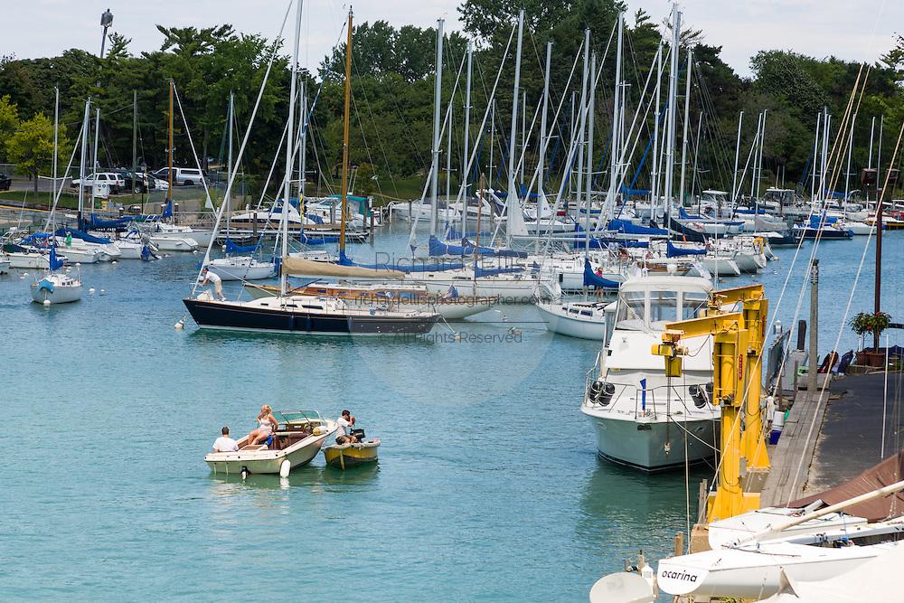 Boats along the Sheridan Shore Yacht Club in Wilmette Harbor Wilmette, Illinois, USA.