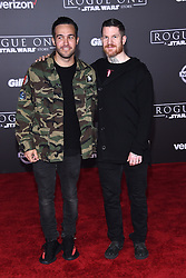 Celebrities walk the red carpet for the 'Rogue One: A Star Wars Story' world premiere held at the Pantages Theatre in Hollywood. 10 Dec 2016 Pictured: Pete Wentz, Andrew Hurley. Photo credit: American Foto Features / MEGA TheMegaAgency.com +1 888 505 6342