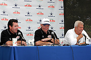 "(L-R) ""Papa"" John Schnatter founder, chairman, and CEO of Papa Johns, Dallas Cowboys owner Jerry Jones, and Dallas Cowboys head coach Bill Parcells host a press conference to announce that the Dallas Cowboys and Papa John's pizza chain announce a new relationship during a post practice press conference at the Cowboys training camp in Oxnard, CA on 08/03/2004. ©Paul Anthony Spinelli"