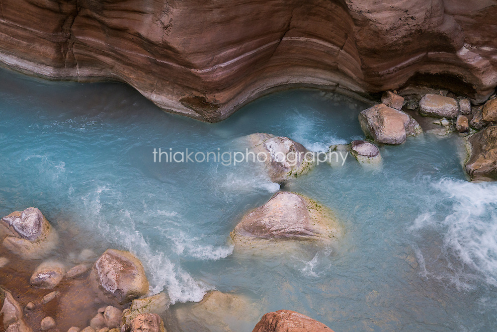 The milky blue limestone water of Havasu Creek, Grand Canyon, AZ