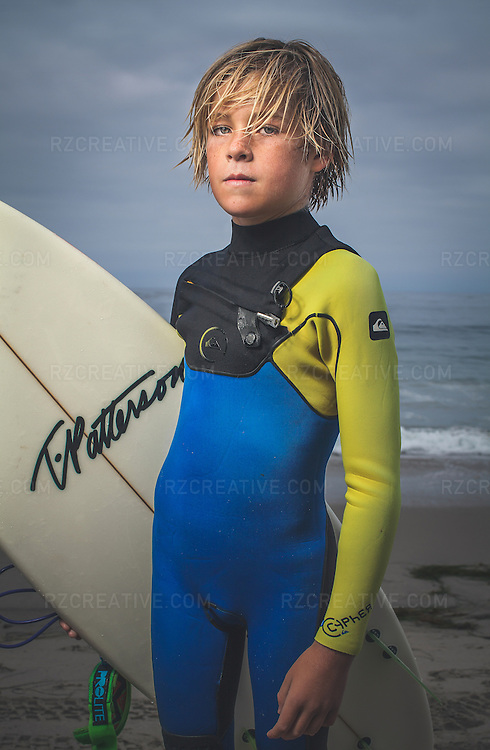 8-year old surfer Ryder Fish photographed on assignment in Laguna Beach, Calif. for Firebrand Media on June, 11, 2014. Photo by Robert Zaleski/rzcreative.com