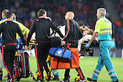Luke Shaw of Manchester United is carried off on a stretcher during the Champions League Group B match between PSV Eindhoven and Manchester United at Philips Stadion, Eindhoven, Netherlands on 15 September 2015. Photo by Phil Duncan.
