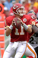 October 7, 2007 - Kansas City, MO..Quarterback Damon Huard #11 of the Kansas City Chiefs drops back to pass against the Jacksonville Jaguars, during a NFL game at Arrowhead Stadium in Kansas City, Missouri on October 7, 2007...MLB:  The Jaguars defeated the Chiefs 17-7.  .Photo by Peter G. Aiken/Cal Sport Media