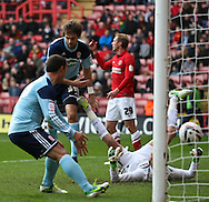 Picture by David Horn/Focus Images Ltd +44 7545 970036.03/11/2012.Jonathan Woodgate of Middlesbrough scores an equalising goal during the npower Championship match at The Valley, London.