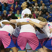 Delaware Guard Erika Brown (3) celebrates with her teammates prior to taking the floor for a NCAA regular season Colonial Athletic Association conference game between Delaware and The Towson Tigers Sunday, Feb 16, 2014 at The Bob Carpenter Sports Convocation Center in Newark Delaware.