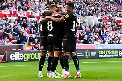 Niclas Eliasson of Bristol City celebrates with his teammates after scoring a goal to make it 1-2 - Rogan/JMP - 14/09/2019 - Bet365 Stadium - Stoke, England - Stoke City v Bristol City - Sky Bet Championship.