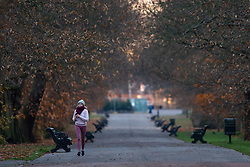 © Licensed to London News Pictures. 03/12/2019. London, UK. Sunrise during a cold and crisp morning in Greenwich Park. Temperatures will continue to drop to 2° this evening.   Photo credit: George Cracknell Wright/LNP