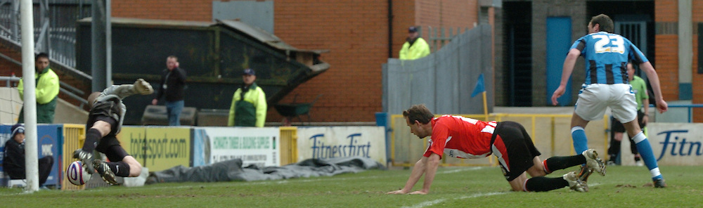 Rochdale - Saturday, March 28th, 2009:  Exeter City's Marcus Stewart watches the ball go past Rochdale's Frank Fielding for Exeter's equalizing goal at 1-1  during the Coca Cola League Two match at Rochdale. (Pic by John Rushworth/Focus Images)