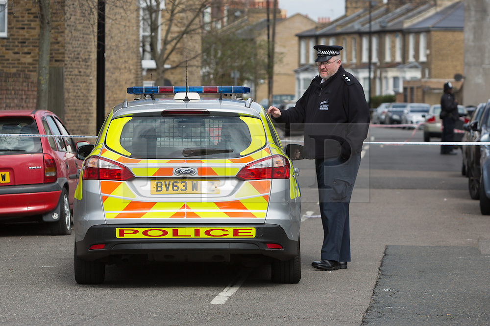 © Licensed to London News Pictures. 04/04/2016. London, UK. Police cordon in Camplin Street, New Cross, Lewisham, where a 17 year old boy died last night after being fatally stabbed. Police have arrested two teens in connection with the murder. Photo credit : Vickie Flores/LNP