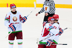 Andrei Stepanov and Andrei Kostitsyn of Belarus celebrate goal during ice-hockey match between Slovenia and Belarus of Group G in Relegation Round of IIHF 2011 World Championship Slovakia, on May 8, 2011 in Orange Arena, Bratislava, Slovakia. (Photo by Matic Klansek Velej / Sportida)