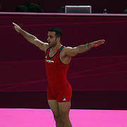 Danell Leyva, USA, performing his floor routine during the Men's Artistic Gymnastics podium training at North Greenwich Arena during the London 2012 Olympic games preparation at the London Olympics. London, UK. 25th July 2012. Photo Tim Clayton