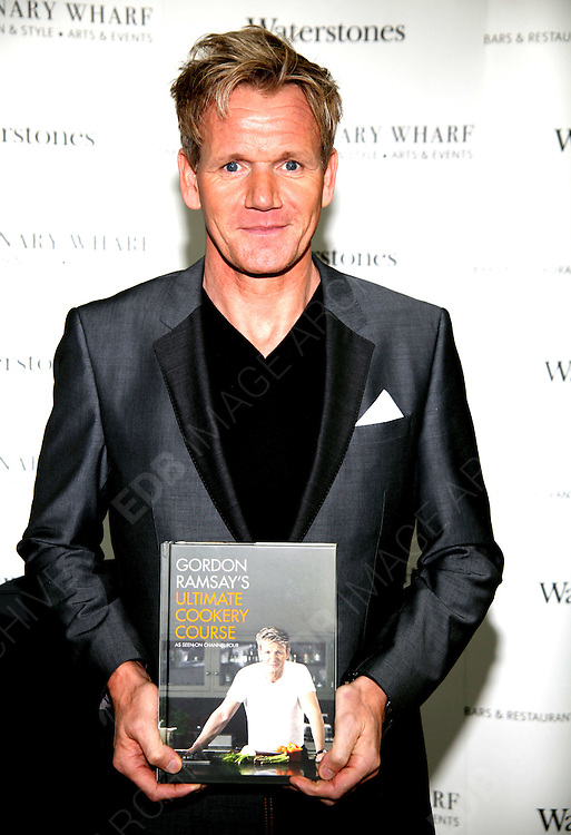 20.SEPTEMBER.2012. LONDON<br /> <br /> GORDON RAMSAY SIGNS COPIES OF HIS NEW BOOK AT WATERSTONES IN CANARY WHARF, LONDON<br /> <br /> BYLINE: EDBIMAGEARCHIVE.CO.UK<br /> <br /> *THIS IMAGE IS STRICTLY FOR UK NEWSPAPERS AND MAGAZINES ONLY*<br /> *FOR WORLD WIDE SALES AND WEB USE PLEASE CONTACT EDBIMAGEARCHIVE - 0208 954 5968*